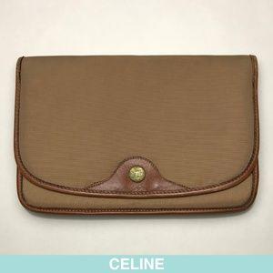 Céline beige cotton/leather clutch rare + limited